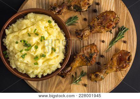 Mashed Potatoes Boiled Puree On Dark Background