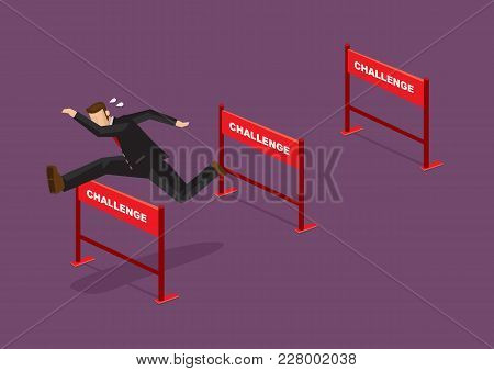 Businessman jumping over series of hurdles with text Challenge on them. Vector cartoon illustration for concept on overcoming challenges. poster