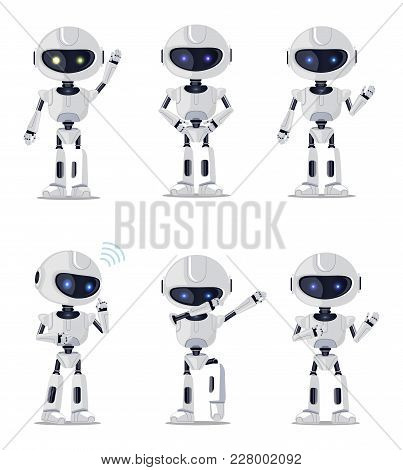 Six Pretty Ai Machines Isolated On White Backdrop Vector Illustration With White Speaking Dancing Da