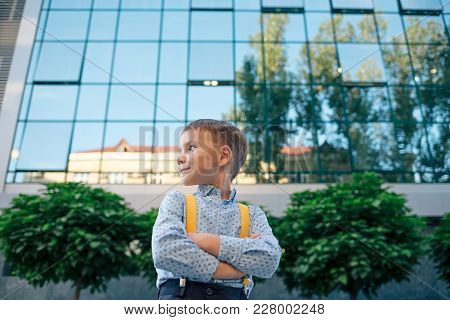 Boy Portrait, Down Angle, Future Businessman, Wearing Yellow Suspenders, Blue Skirt Against Office B