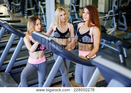 Three Beautiful Young Girls In The Gym