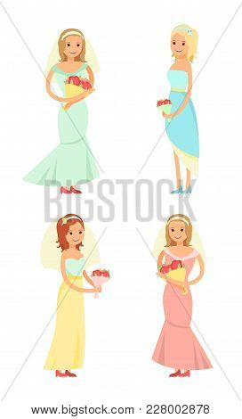 Brides Holding Bouquets Of Red Flowers, Set Of Women Wearing Traditional Elegant Dresses, Happy Ladi