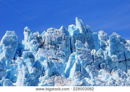Closeup Of Ice Sculpture Of Aialik Glacier In Kenai Fjords, Part Of The Huge Harding Ice Field, Alas