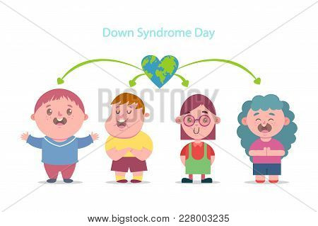 Down Syndrome Day. Vector Cartoon Flat Illustration Of Children With Disabilities. Character Boys An