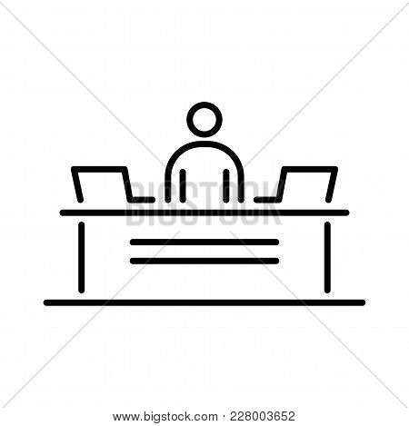 Reception Security Desk Business People Icon Simple Line Flat Illustration.