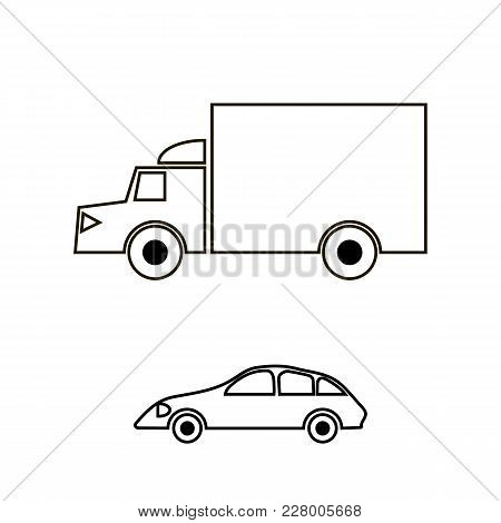 Container Truck Icon On White Background. Cargo Delivery. Generic Semi-trailer Transportation. Car E