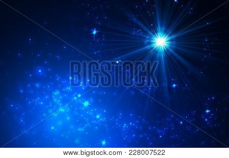 Abstract Background With Falling Star And Twinkling Star Trail. Vector Illustration