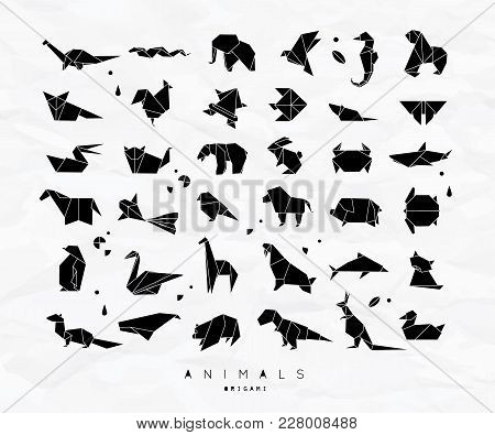 Set Of Animals In Flat Style Origami Snake, Elephant, Bird, Seahorse, Frog, Fox, Mouse, Butterfly, P