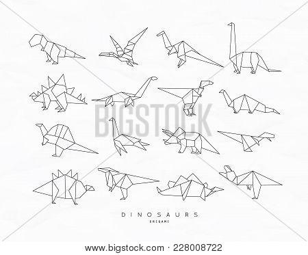 Set Of Dinosaurs In Flat Origami Style Tyrannosaurus, Pterodactyl, Barosaurus, Stegosaurus, Deinonyc