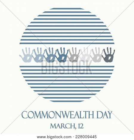 Creative Vector Abstract Round Logo With Blue Stripes For Commonwealth Day. Flat Vector Stock Illust