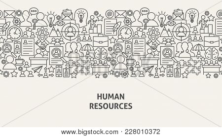 Human Resources Banner Concept. Vector Illustration Of Line Web Design. Hr Management Template.