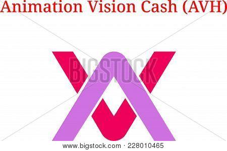 Vector Animation Vision Cash (avh) Digital Cryptocurrency Logo. Animation Vision Cash (avh) Icon. Ve