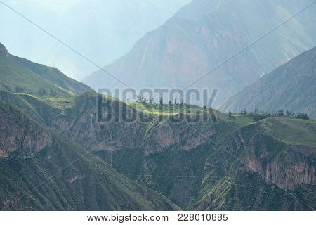 Scenery In The Colca Canyon Near The Little Village Cabanaconde In The Arequipa Region, Peru.