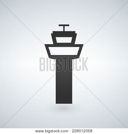 Flight Control Tower Icon For Web, Mobile And Infographics. Vector Dark Grey Icon Isolated On Light