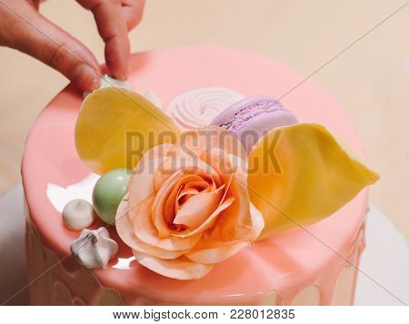 Unrecognisable Woman Decorating Mousse Glaze Cake, Hands Detail, Focus On The Cake. Diy, Sequence, S