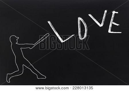 Baseball Player Hitting Love. Divorce. Broken Down Relationships Symbol