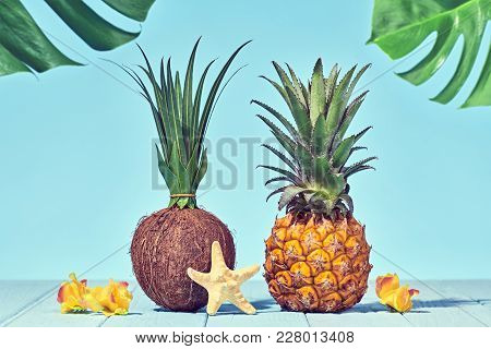 Tropical Pineapple And Coconut. Bright Summer Color. Creative Minimal. Hot Summer Vibes. Sunny Beach