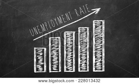 Unemployment Rate Graph On The Black Chalkboard.