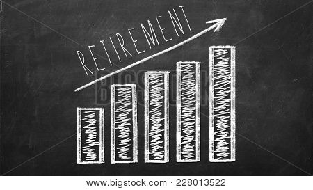 Retirement Saving Concept On Black Chalkboard. Growing Diagram With Arrow