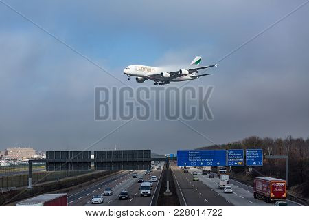 Emirates Airbus A380 Approaching For Landing At Frankfurt Airport, Germany, On 16st Of February, 201