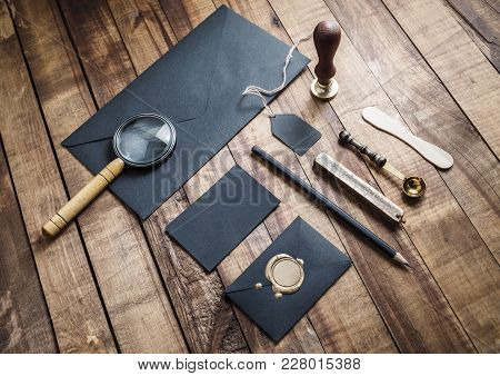Black Vintage Corporate Stationery Set On Wooden Background. Brand Id Elements.