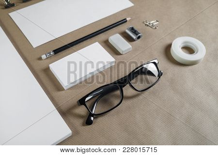 Corporate Stationery Set On Craft Paper Background. Blank Id Template.