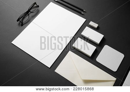 Blank Branding Stationery Mockup On Black Paper Background. Template Objects For Placing Your Design