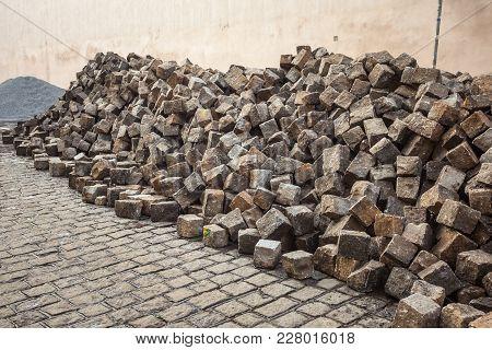 Heaps Of Cobblestones, Pavement Construction, Prague Street