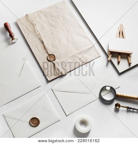 Photo Of Blank Vintage Stationery Set On Paper Background. Mock Up For Branding Identity. Id Templat
