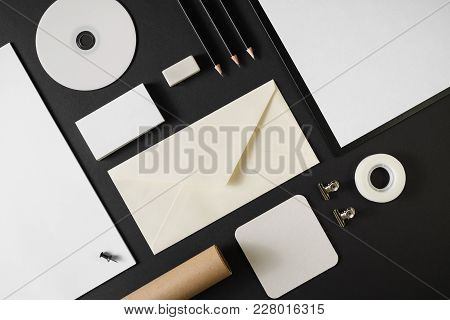 Photo Of Blank Stationery Template For Placing Your Design. Mockup For Branding Identity On Black Pa