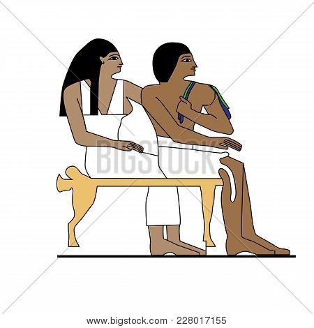 Egypt Man And Woman Sitting, Ancient Egypt Builders At Work Illustration, Man At Work, Group Of Work