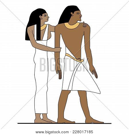 Egypt Man And Woman Standing, Ancient Egypt Family At Home Illustration, Man At Work, Group Of Worke
