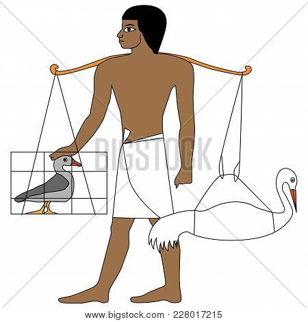 Egypt Man Return From Farm With Duck And Ciconia, Ancient Egypt Farmer Illustration, Man At Work, Gr