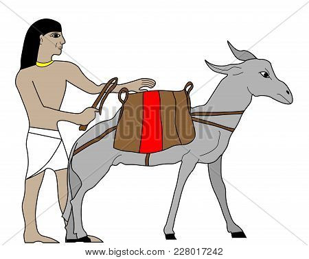 Egyptian Merchant Wit Donkey, Ancient Egypt Merchant Illustration, Man At Work, Group Of Workers, Eg