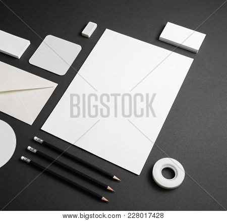 Photo Of Blank Corporate Identity Template. Business Stationery Mock-up On Black Paper Background.