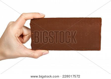 Chocolate Plate With Filling In Hand. Isolated On A White Background. Sweet And Tasty Food.