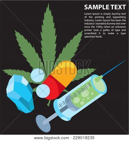 Drugs Infographics, Narcotic. Vector Illustration With Place For Text.
