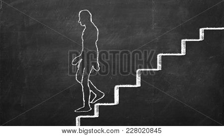 Man Is Walking Down The Stairs Drawn On Blackboard