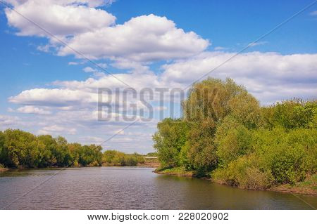 Summer Landscape With Small River Of Trubezh Flowing Between Wooded Banks. Ryazan Region, Russia
