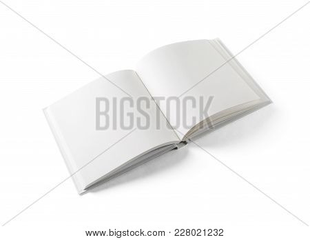 Mockup Of Opened Blank Square Book At White Background. Isolated With Clipping Path.