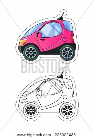 Urban Tiny Car Side View Coloring Book. Colored Illustration + Line Art. Vector Eps10