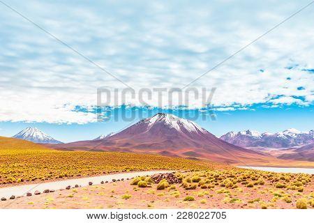 View On Lagoon Miscanti And Volcano Licancabur In The Altiplano Of Chile