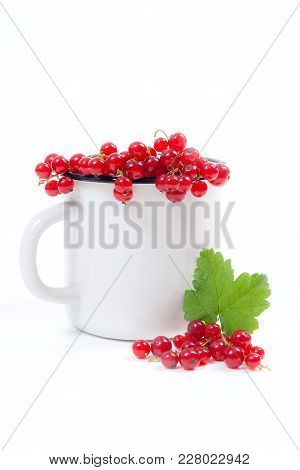 White Cup With Red Currant Berry In It And Small Bunch Of Red Currant With Green Leaf  Isolated On W