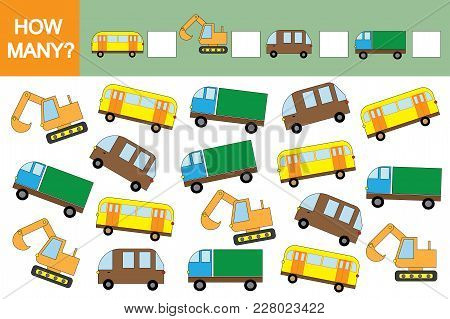Counting Educational Game For Children. How Many Cars (transports)? Mathematics
