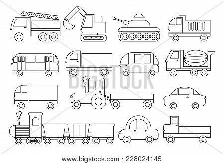 Coloring Book. Set Of Transport. Car, Bus, Train, Fire Truck, Concrete Mixer, Dump Truck, Truck, Tra
