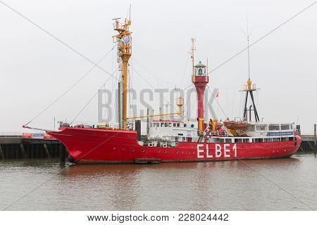 Elbe1 Lightvessel In German Harbor Cuxhaven. Currently Used As Museum.