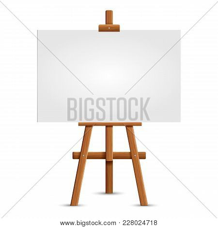 Blank Art Board And Realistic Wooden Easel. Wooden Brown  Easel With Mock Up Empty Blank Square Canv