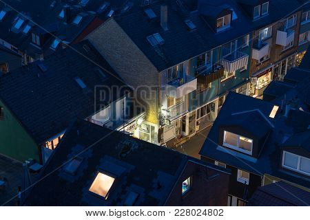 Helgoland, Germany - May 20, 2017: Aerial Night View Of Village At Helgoland. Only The Main Street I