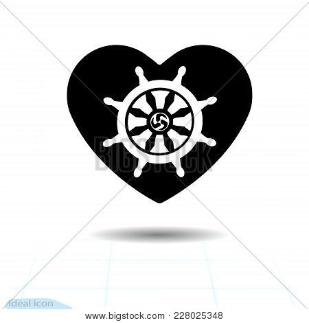 Heart Vector Black Icon. Silhouette Dharmachakra In Heart. Valentines Day Sign, Emblem, Flat Style F