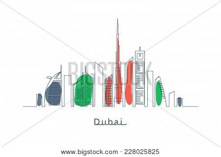 Dubai Cityscape With Skyscrapers And Landmarks Uae Flag Colors Vector Illustration